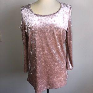 by design Tops - Rose Gold Open Shoulder Velvet Long Sleeve Top